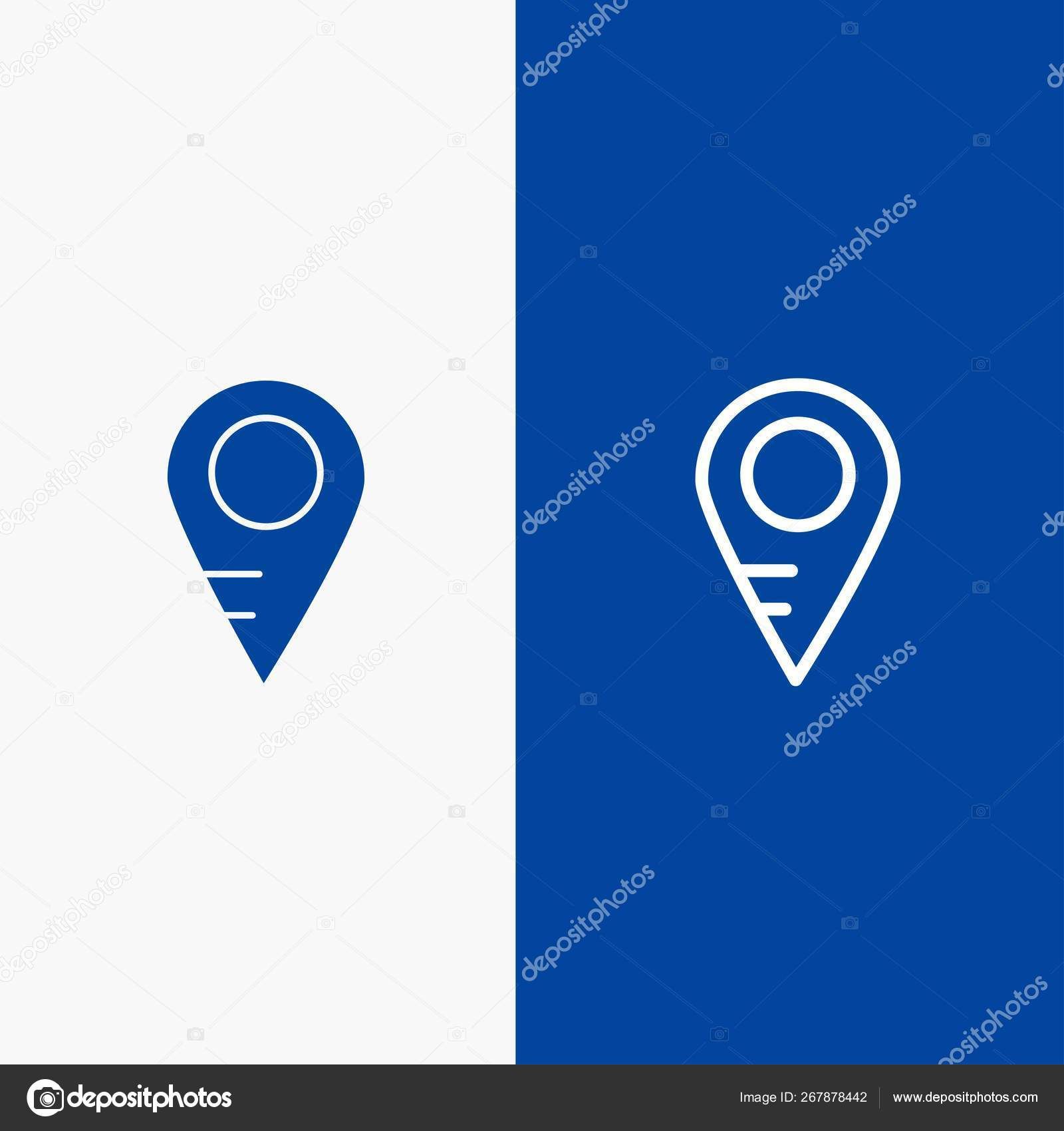 Map, Location, School Line and Glyph Solid icon Blue banner