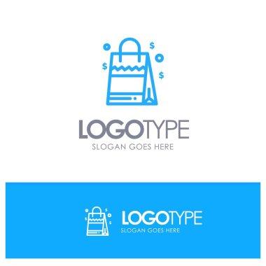 Bag, Handbag, Usa, American Blue Outline Logo Place for Tagline icon