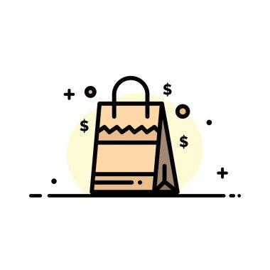 Bag, Handbag, Usa, American  Business Flat Line Filled Icon Vector Banner Template icon
