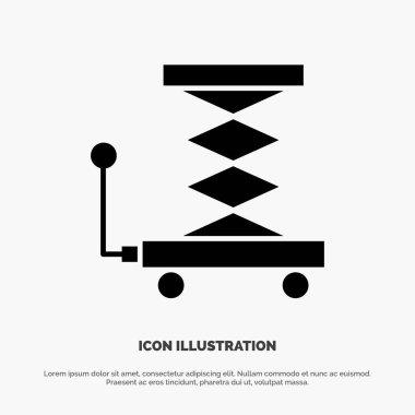 Car, Construction, Lift, Scissor solid Glyph Icon vector