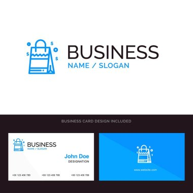 Bag, Handbag, Usa, American Blue Business logo and Business Card Template. Front and Back Design icon