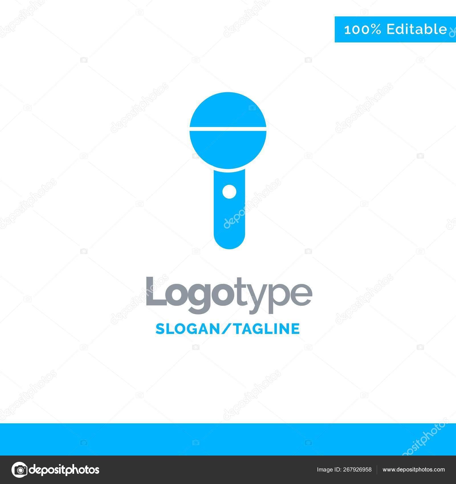 Media, Mic, Microphone, Press, Sound Blue Solid Logo