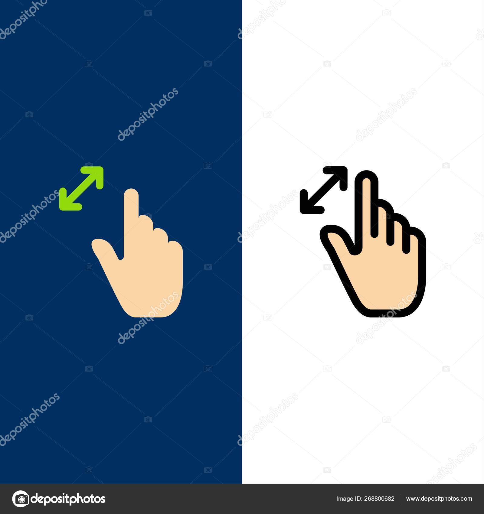 Expand, Gestures, Interface, Magnification, Touch Icons