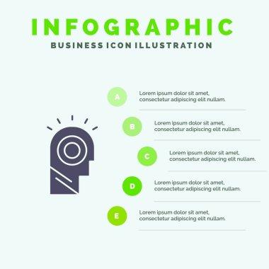 Idea, Light, Man, Hat Solid Icon Infographics 5 Steps Presentati