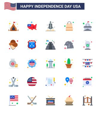 Editable Vector Flat Pack of USA Day 25 Simple Flats of house; shop; rocket; packages; bag Editable USA Day Vector Design Elements