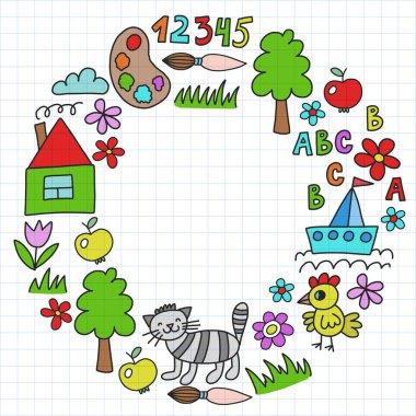 Kindergarten pattern, drawn kids garden elements pattern, doodle drawing, vector illustration, colorful. cage.
