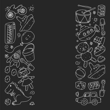 Vector pattern with kindergarten, toy children. Happy children illustration. monochrome chalk drawing on blackboard.
