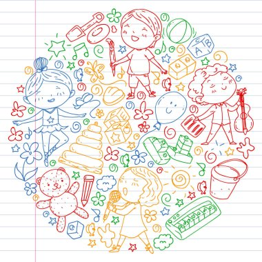 Painted by hand style pattern on the theme of childhood. Vector illustration for children design. Colorful drawing by pen on exercise notebook