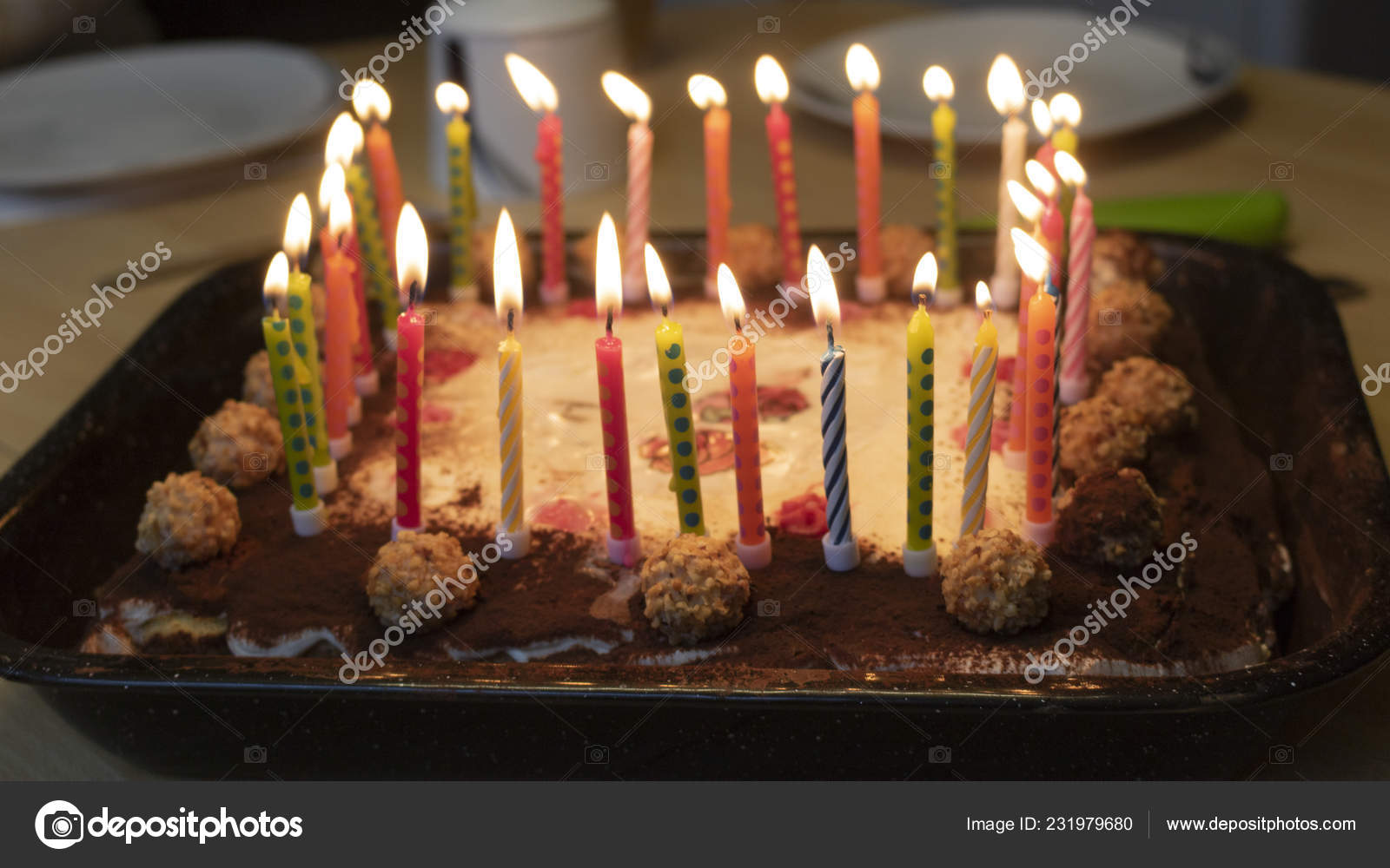 Fine Happy Birthday Cake Candles Stock Photo C Vsfotos 231979680 Funny Birthday Cards Online Inifofree Goldxyz