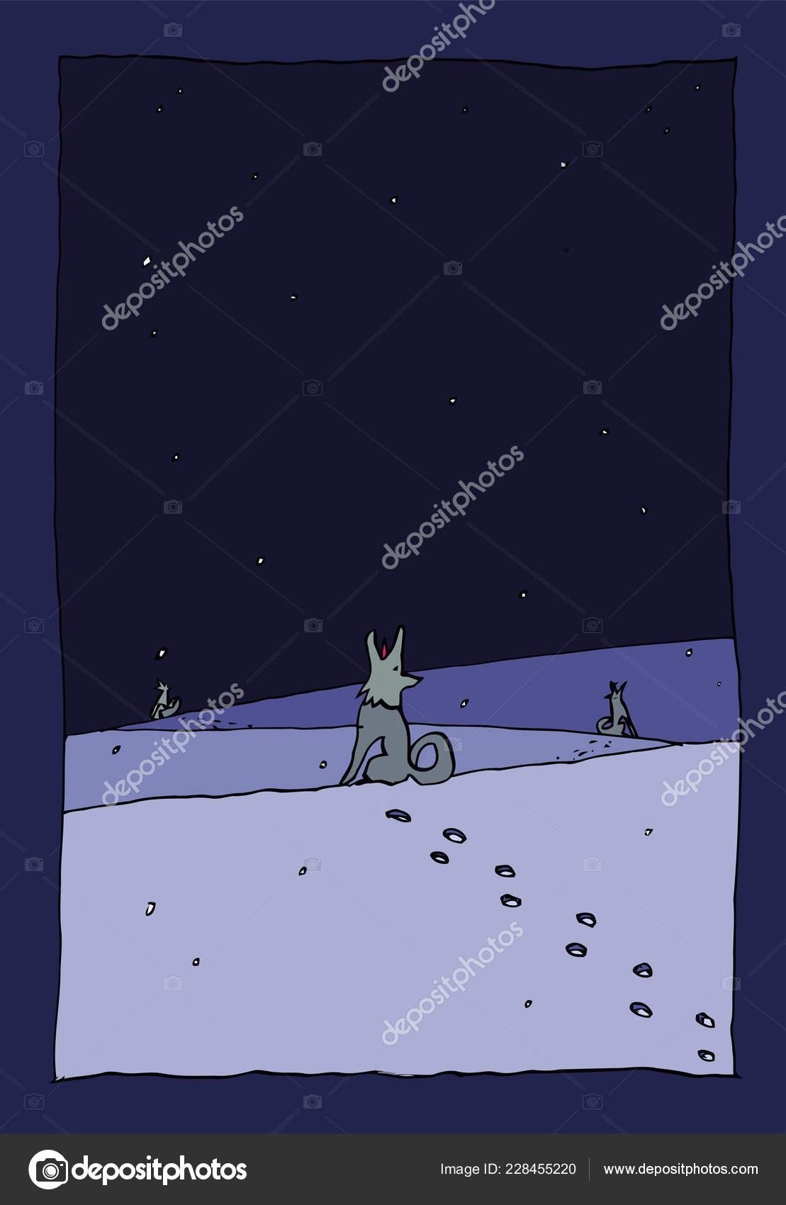 Caes Noite Inverno Versao Azul Escuro Desenho Tinta Abstrata