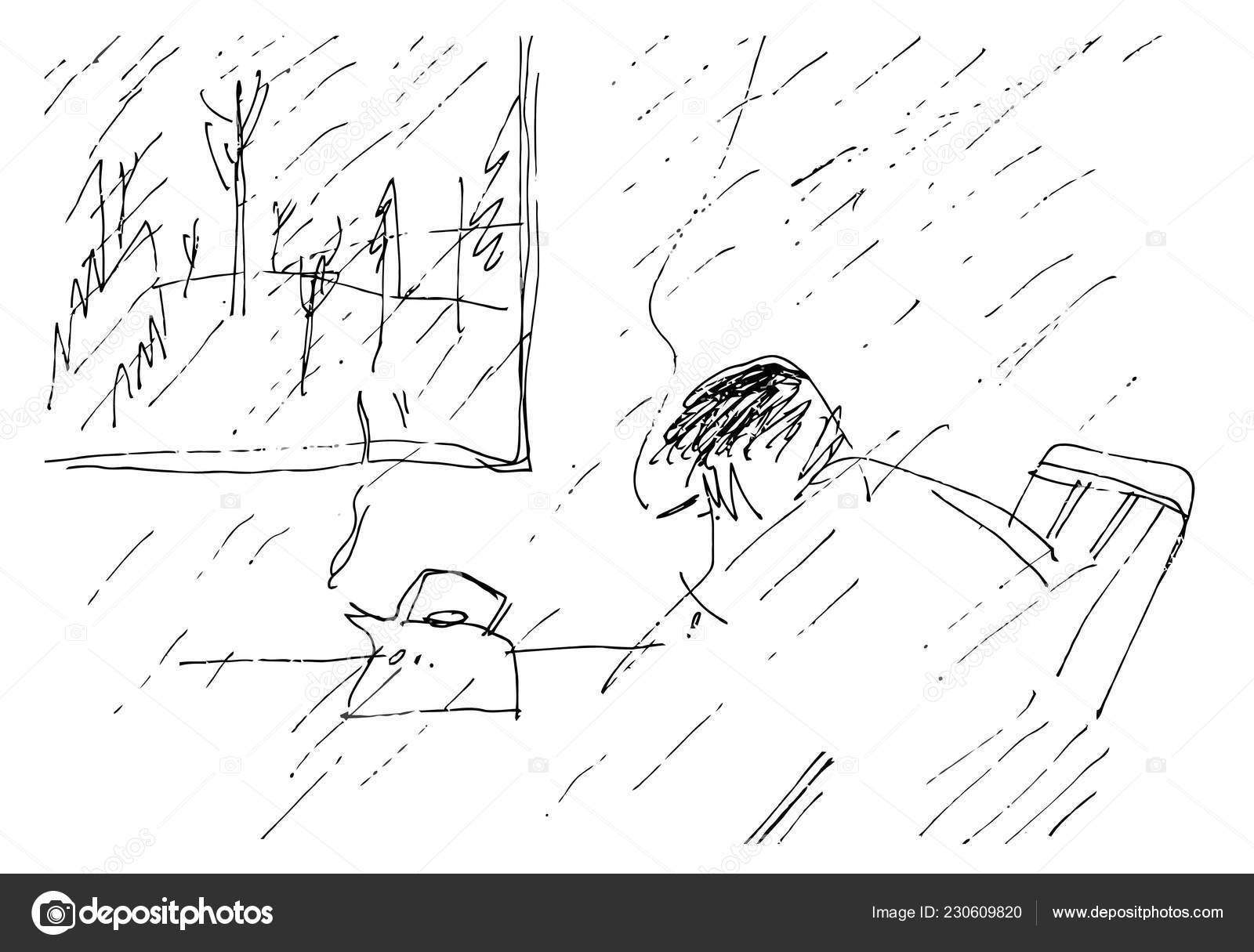 Rainy season drawing black and white sad rainy day black