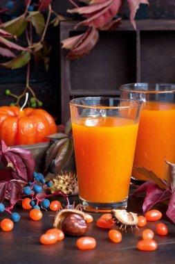 Pumpkin orange cocktail in glass mug. Fall Seasonal Drinks
