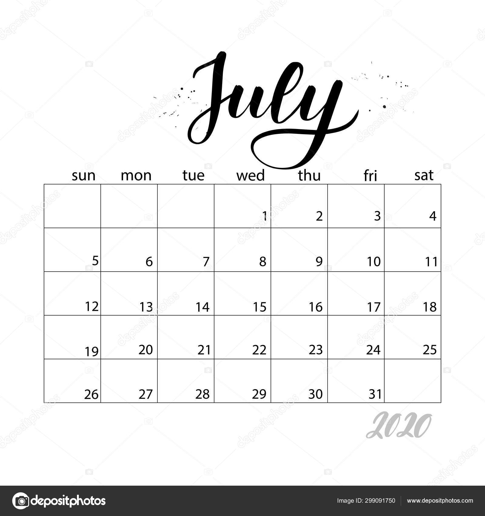 July. Monthly Calendar For 2020 Year