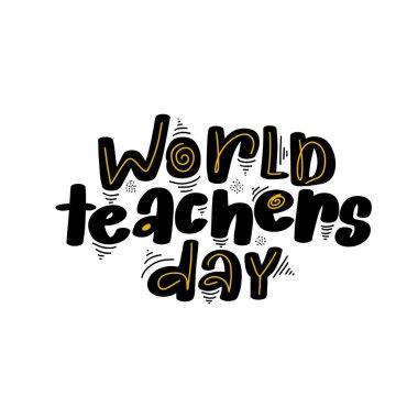Happy Teachers Day hand drawn lettering illustration