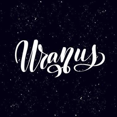 Logo with Uranus Planet. Vector Illustration isolated