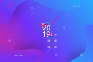 2019 blur banner design, Happy new year. 2019 new year celebration. 2019 landing page background. Fluid, liquid, wavy, dynamic shape background. Trendy and modern background color.