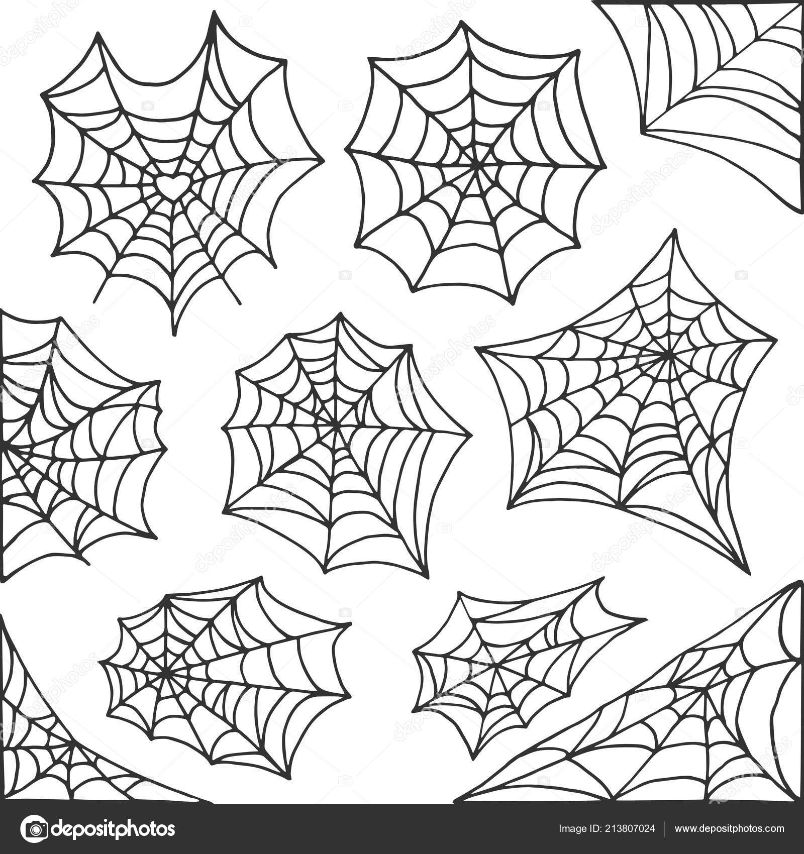 hand drawn spider web halloween symbol. cobweb decoration elements
