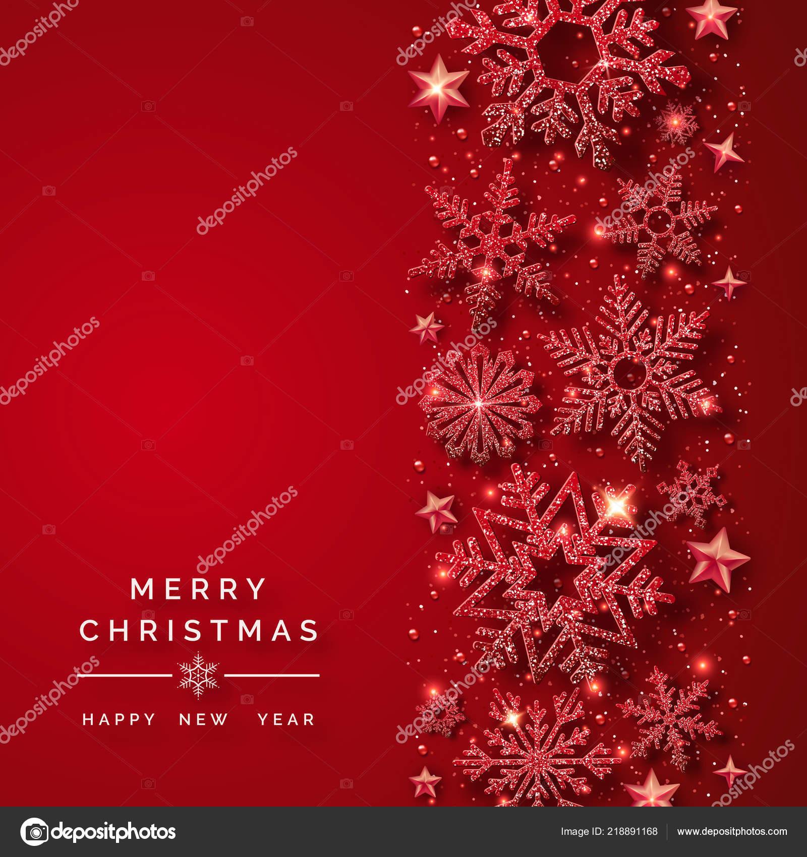 Sfondo Di Natale Con Neve E Fiocchi Di Neve Rossi Brillanti
