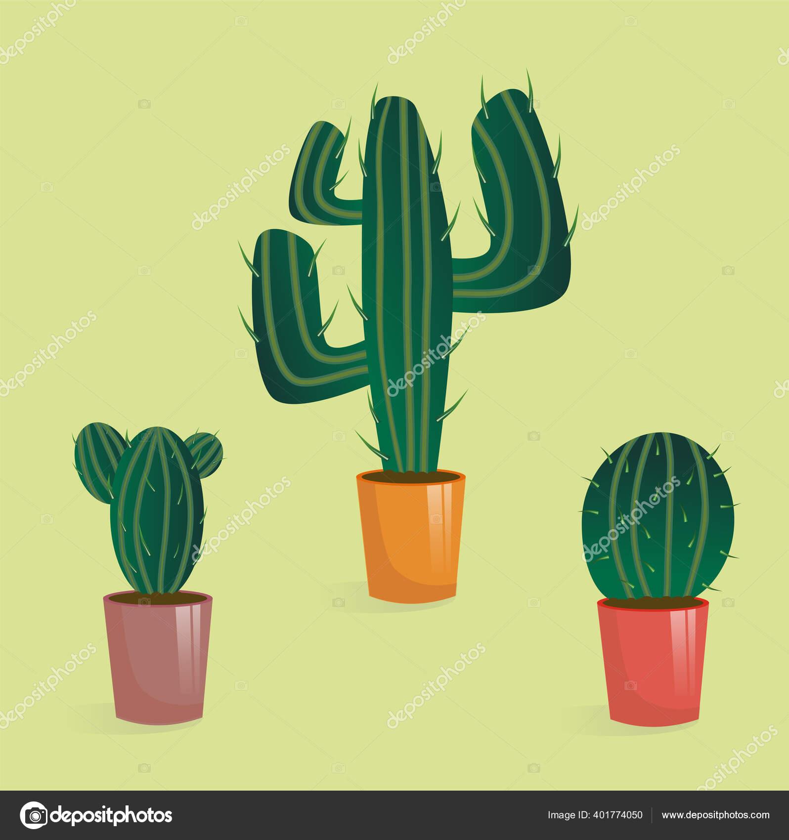 Set Kaktus Dalam Pot Rumah Tanaman Dalam Gaya Kartun Dengan Stok Vektor C Smirnova 26051994 Mail Ru 401774050