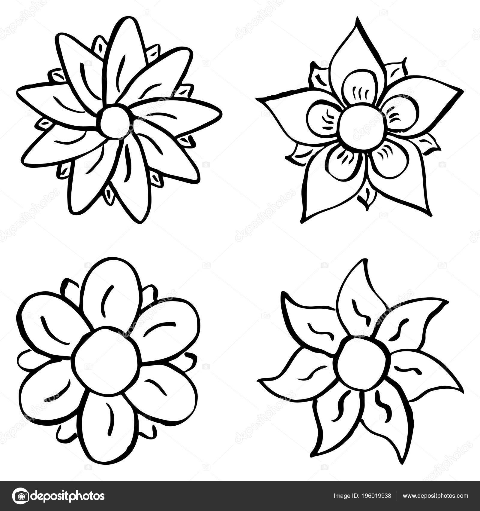 Ilustracion Vector Flores Colores Dibujos Animados Archivo