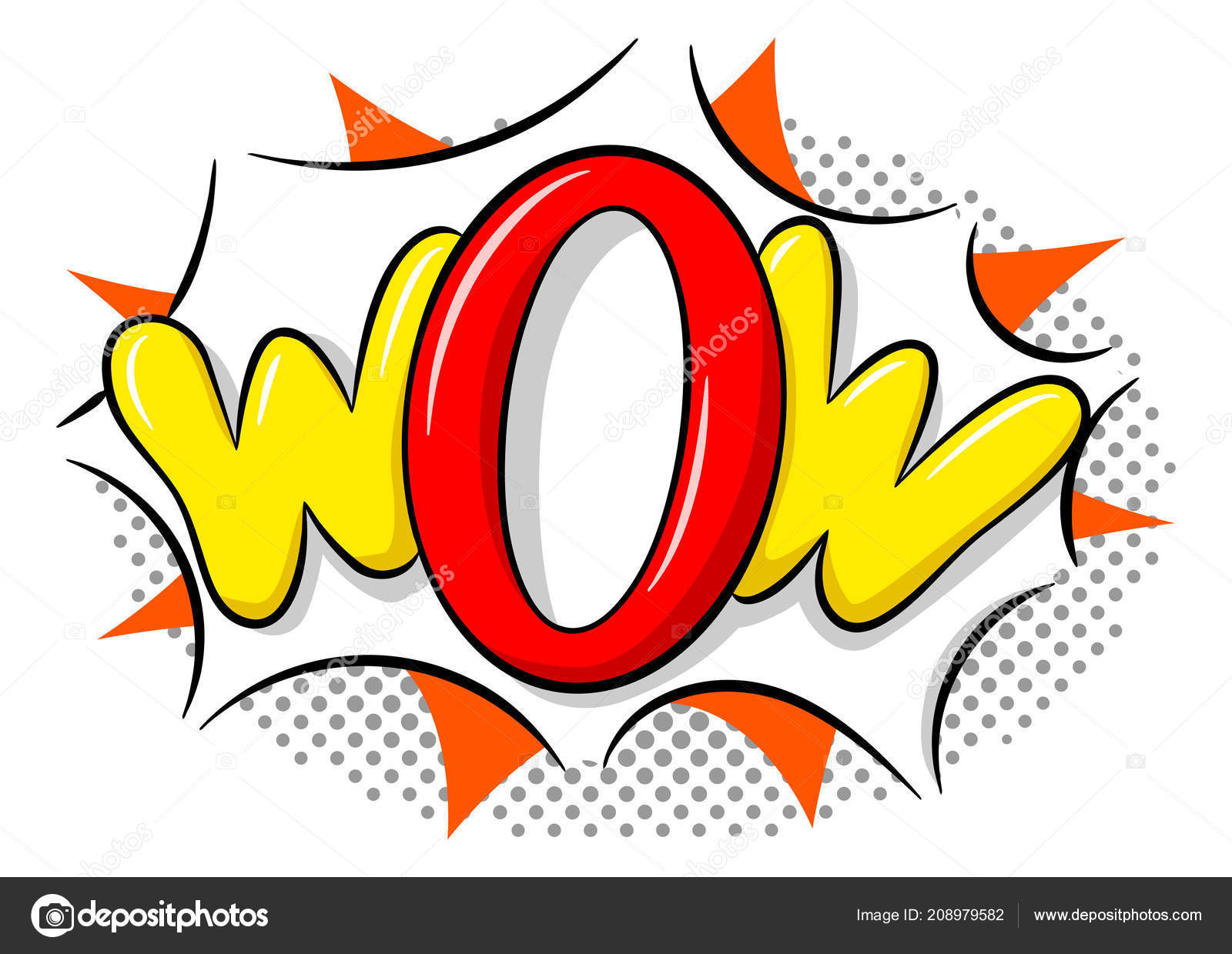 Vector Illustration Comic Sound Effect Wow — Stock Vector