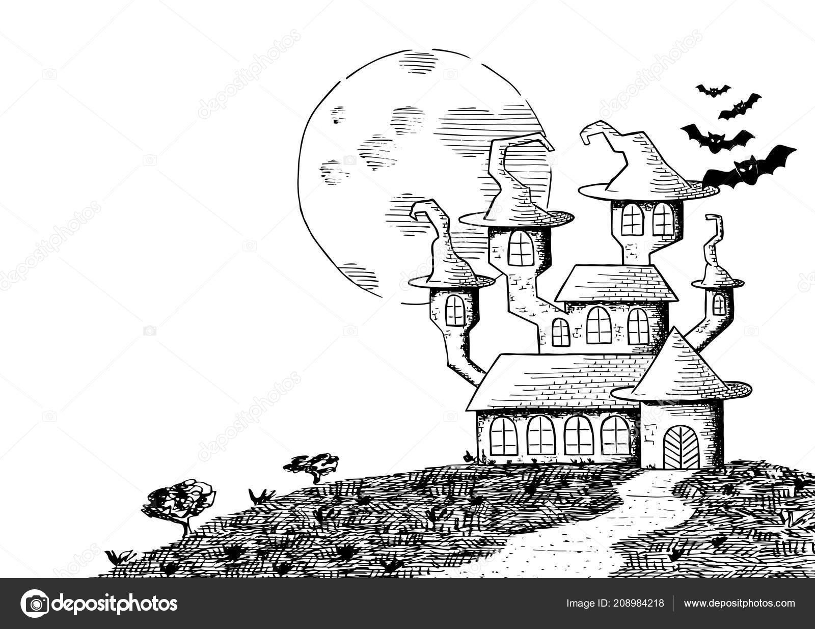 Imágenes La Luna Llena Para Colorear Vector Ilustración Castillo