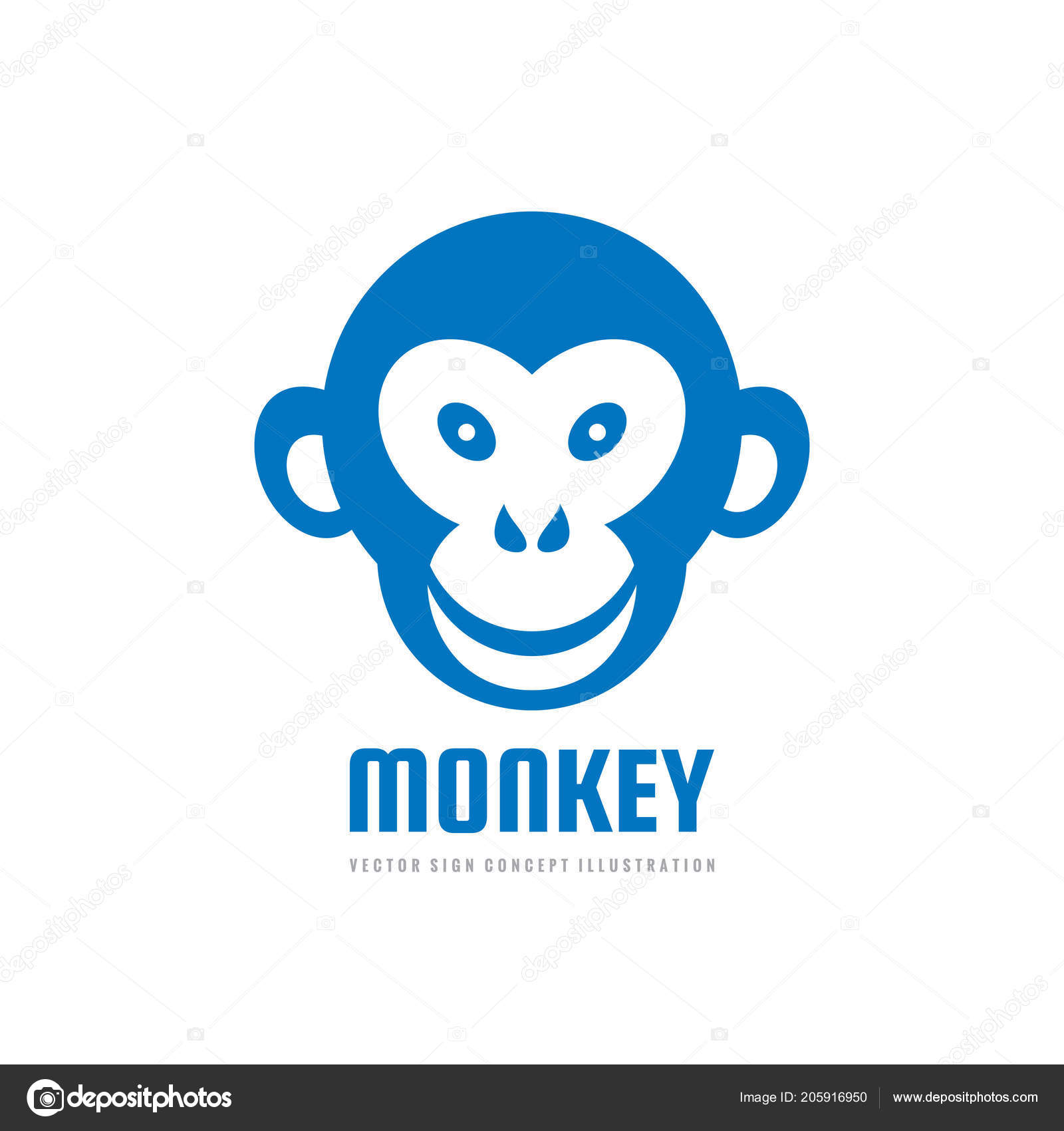 monkey head smile vector logo template concept illustration graphic
