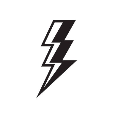 Lightning black icon design. Thunderbolt sign. Electric energy power flat icon.  Flash sign. Electrical industry. Battery voltage symbol. Vector illustration. icon