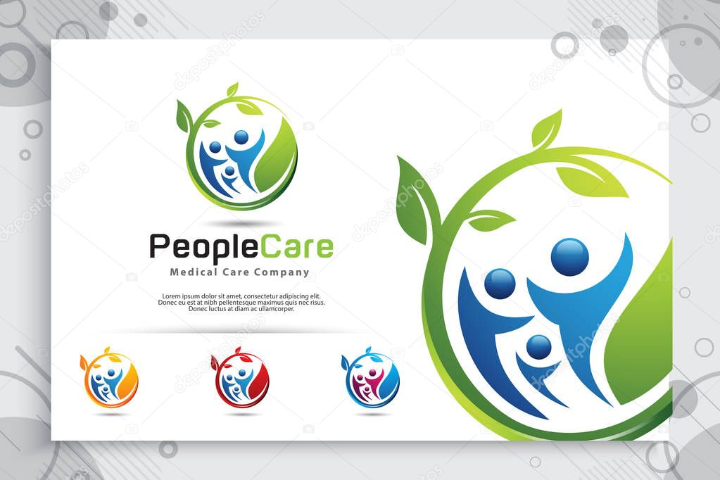 creative leaf people vector logo design with modern crowd concept, symbol illustration people with leaf for family consultation.