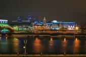Moszkva város éjszakai épületek