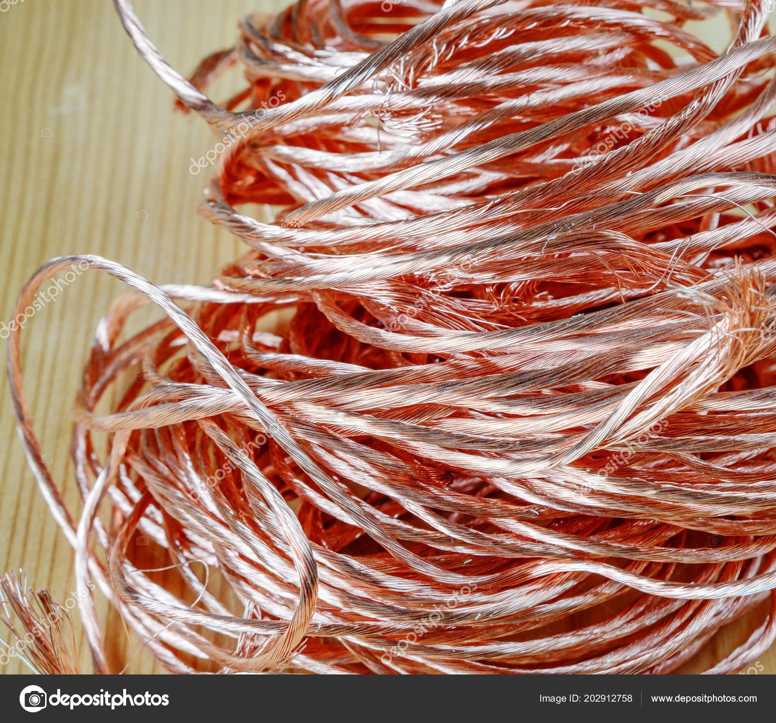 Big Pile Scrap Metal Copper Wire Close Raw Materials Recycling ...