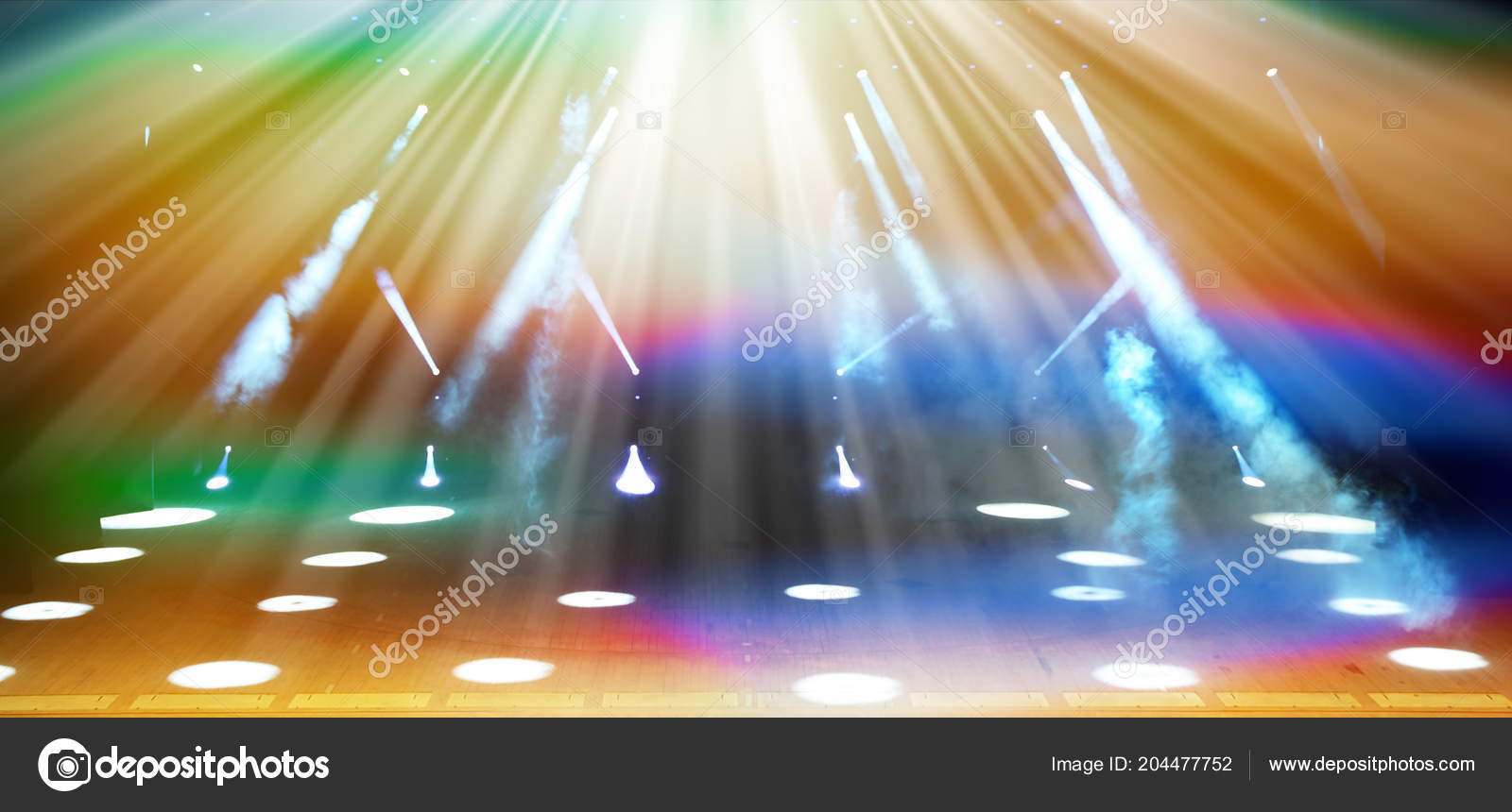 Illuminated Free Concert Stage Haze Rays Multicolored Light