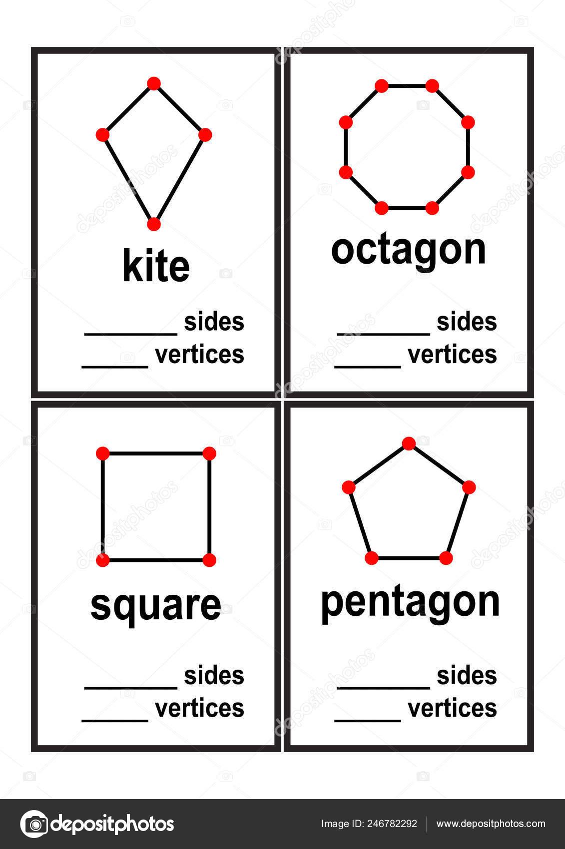 Count Sides Vertices Shapes Worksheet Preschool Kids Vector