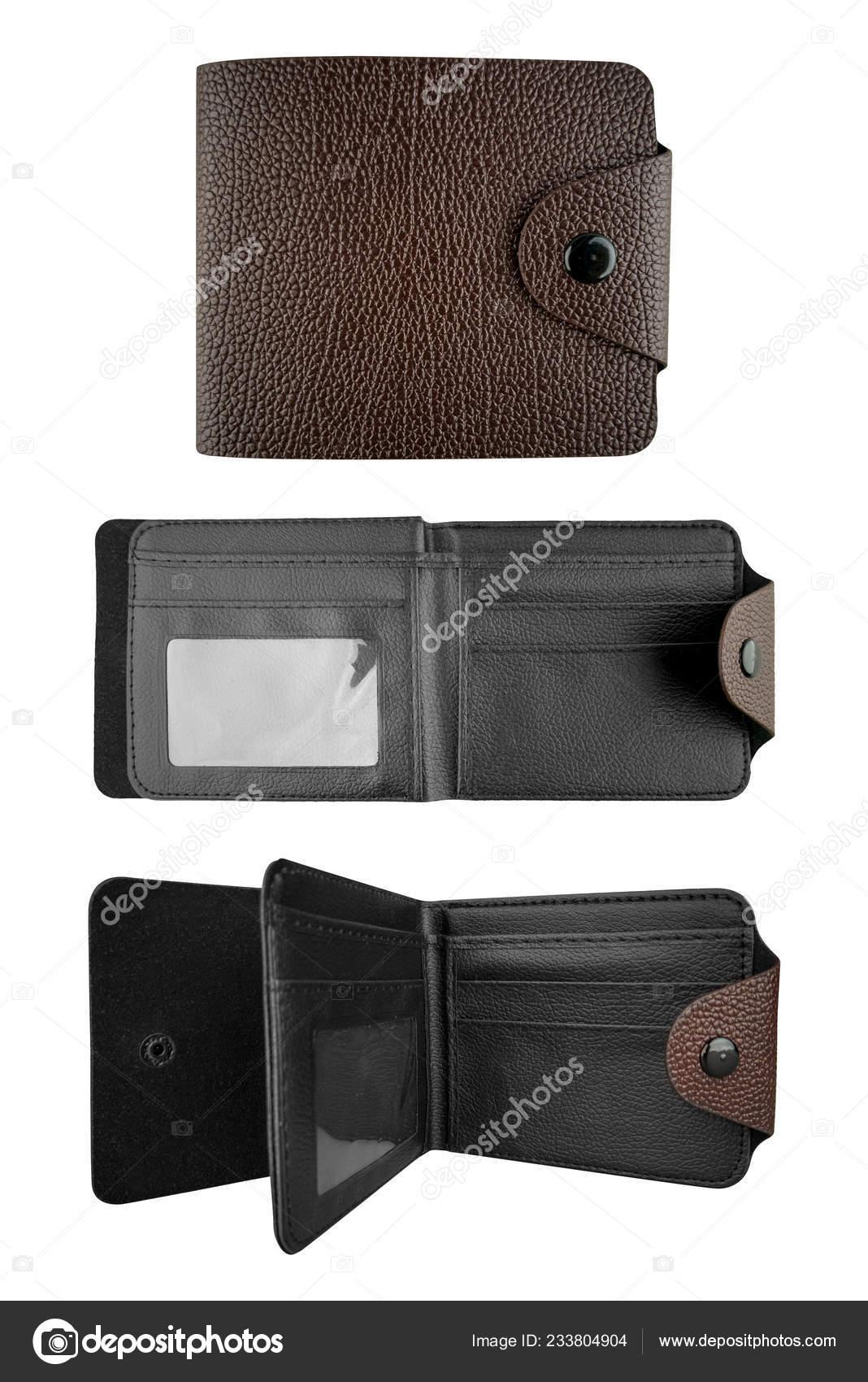 1d8770dd1 Billetera de cuero hombre marrón con interior negro. Tres casos de una  cartera elegante, aislado sobre fondo blanco, incluidos trazados de recorte  — Foto de ...