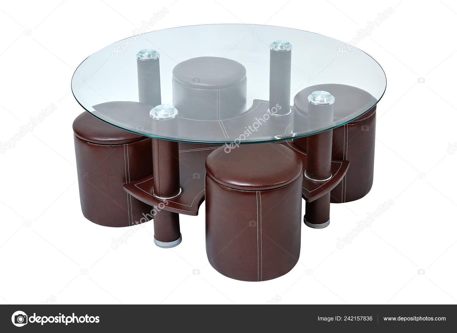 Luxury Coffee Table Stools Glass Brown Leather Coffe Table Four Stock Photo C Arthur Mustafa 242157836