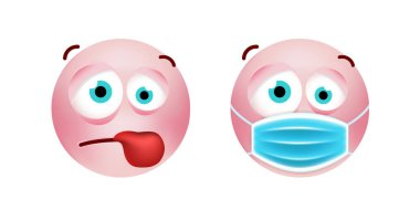 Cute Pink Emoticon with Cartoon Style with Medical Facial Mask on White Background . Isolated Vector Illustration icon
