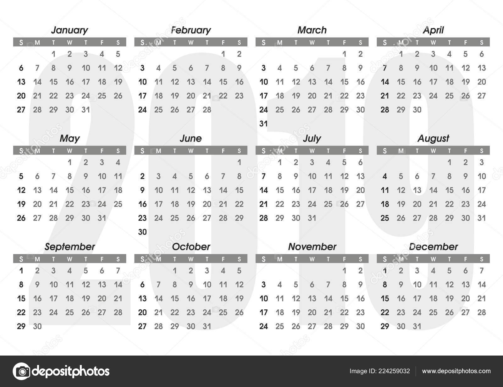 Calendario En Blanco.Plantilla Calendario 2019 Calendario Diseno Colores Blanco Negro