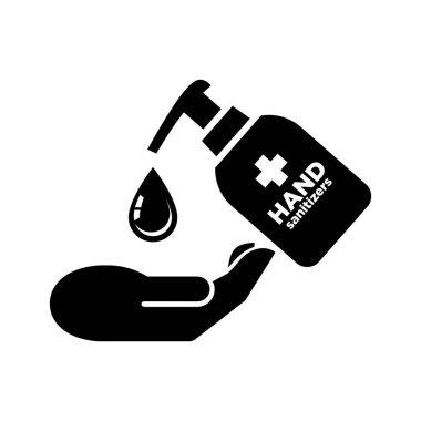 Hands antibacterial sanitizer agent. Washing hands vector icon icon