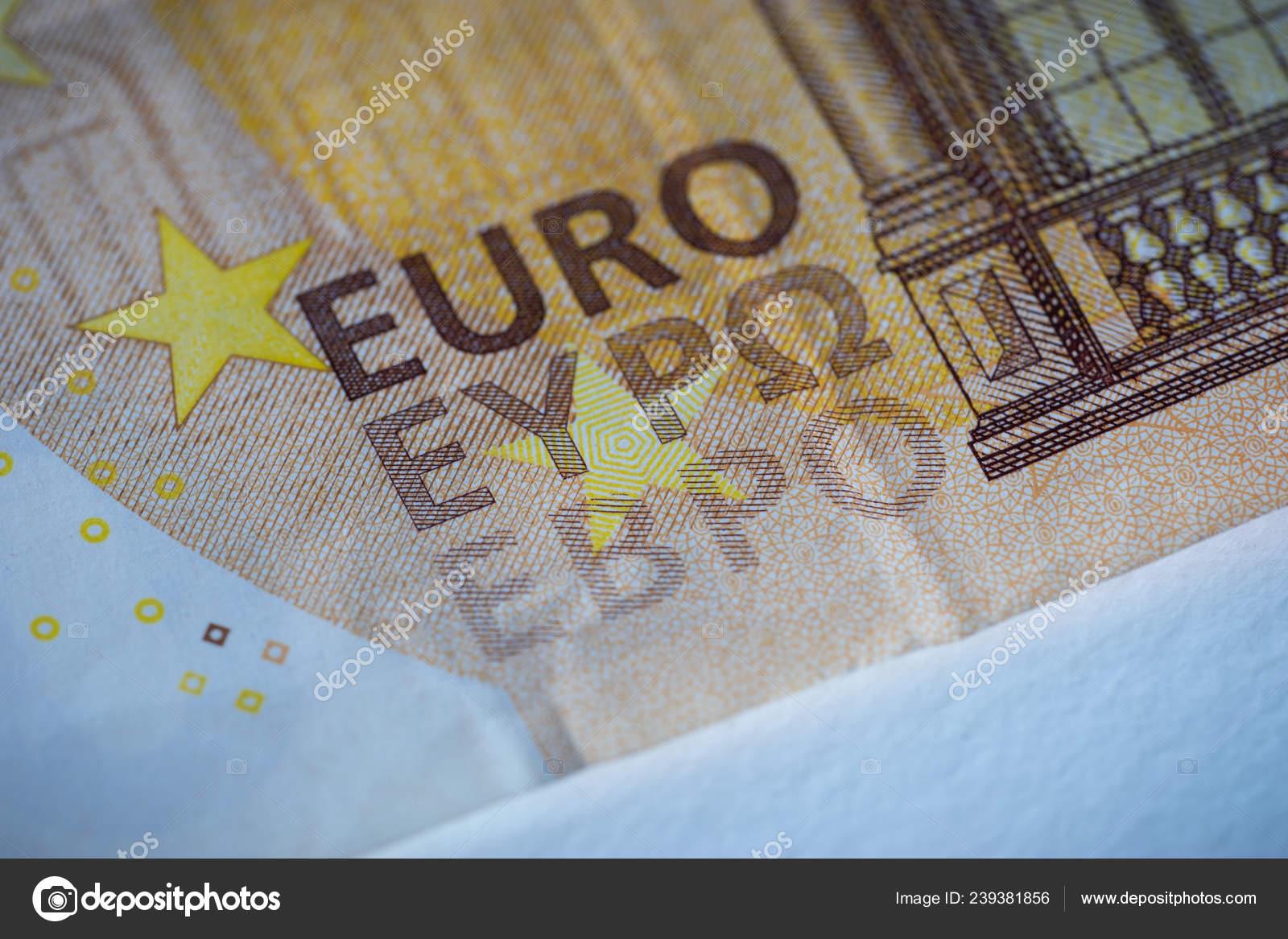 Close Euro Bank Note Word Euro Three Alphabets Latin Greek