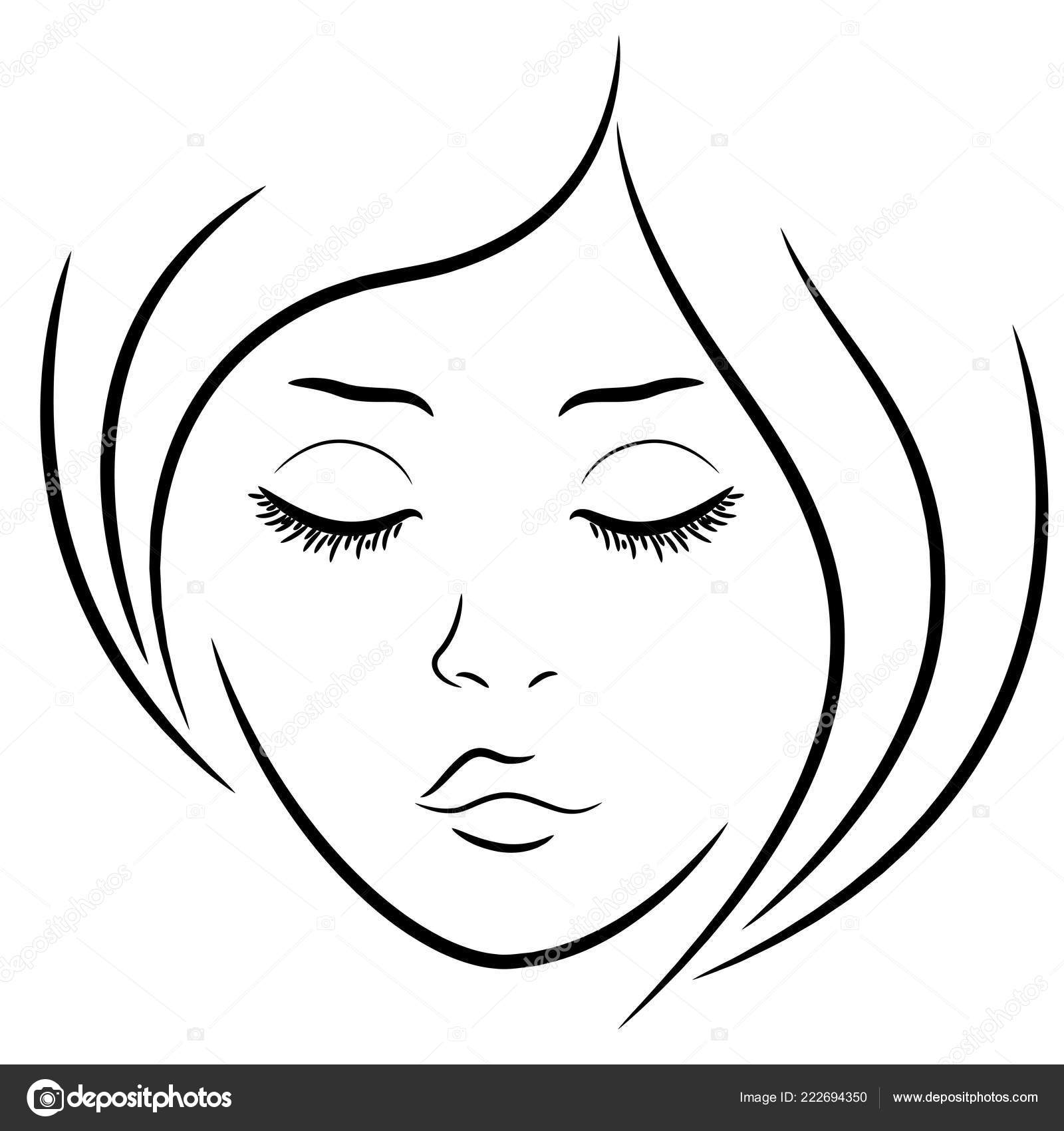 Woman Face Closed Eyes Hand Drawing Vector Outline Stock Vector