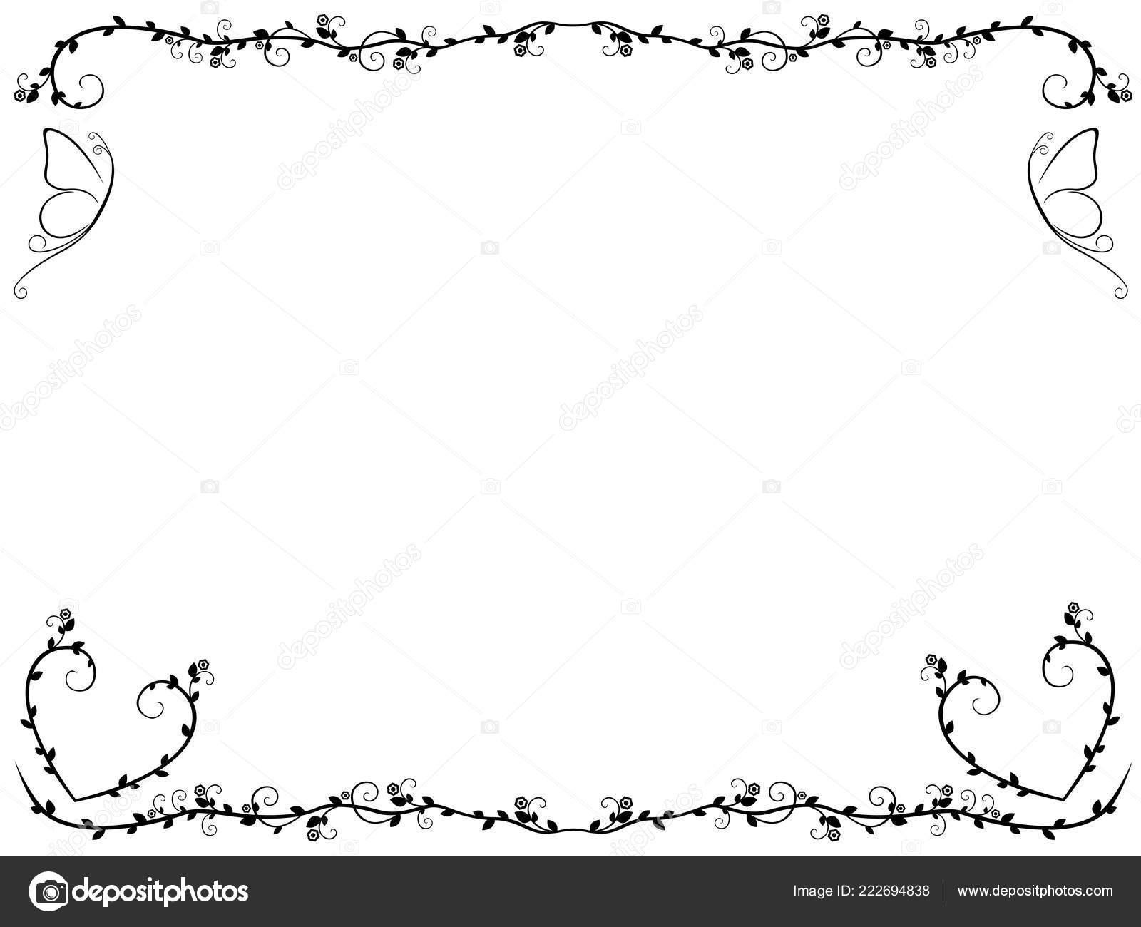 Ornamentalni Vzor Kvetinovymi Ramu Motyli Vektorove Kresby Stock