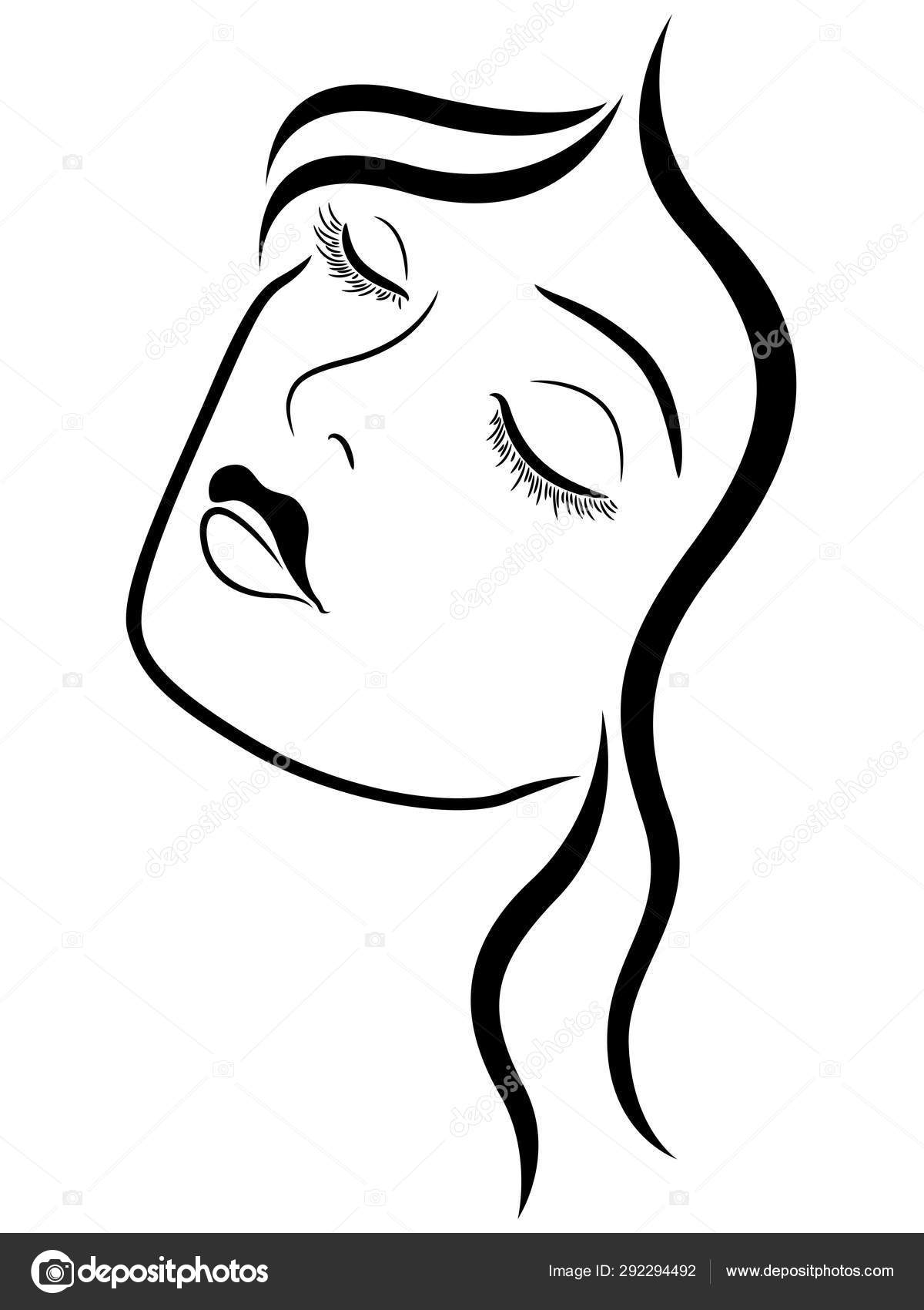 Beautiful Lady With Closed Eyes Stock Vector C Natreal 292294492