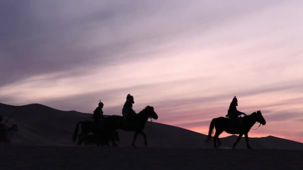 Horsemen warriors silhouetted, Medieval Cavalry attacks the Enemy