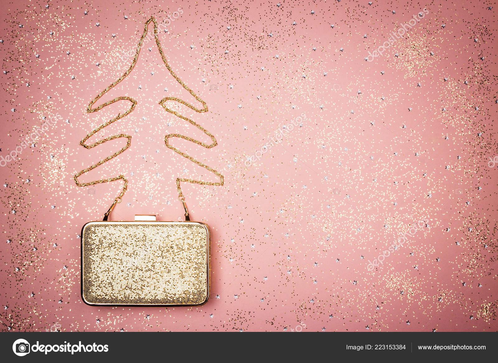 Arredamento Moda Glitter Albero Natale Fatto Una Catena Borsa Dorata