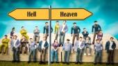 Fényképek Street Sign Heaven vs Hell