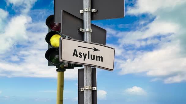 Ulice podepsat směr azylu