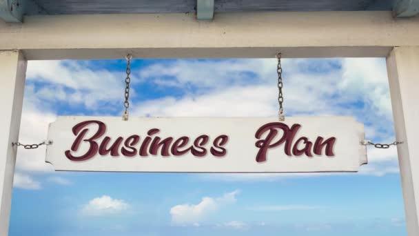 Straßenschild mit Business-Plan