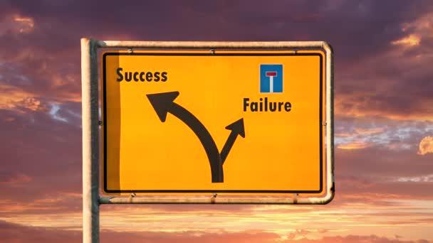 Značka ulice na úspěch versus neúspěch