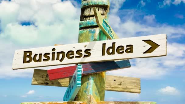 Straßenschild auf dem Weg zur Geschäftsidee