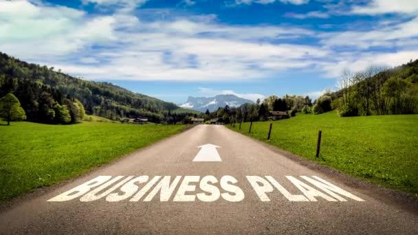 Straßenschild weist den Weg zum Businessplan
